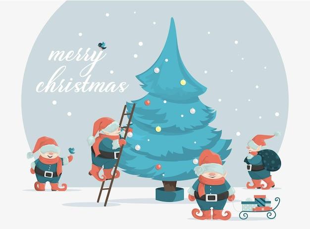 Рождественские гномы готовятся к празднику. симпатичные праздничные персонажи. векторная иллюстрация праздника.