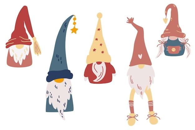 Коллекция рождественских гномов. скандинавский нордический гном. симпатичные рука рисовать рождество санта-гном. символ зимнего праздника. векторные иллюстрации шаржа.