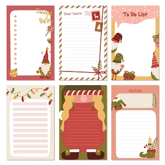 목록 주최자 및 플래너를 수행하는 메모 작업을 위한 크리스마스 그놈 엘프 컬렉션 편지지