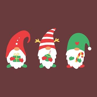 Рождественские гномы с рождеством векторная иллюстрация xmas