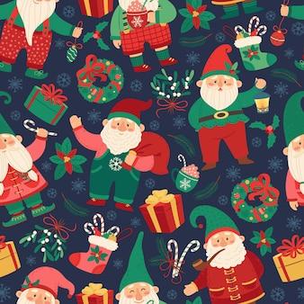 クリスマスノームシームレスパターンドワーフとギフトソックス冬のお祭りの背景