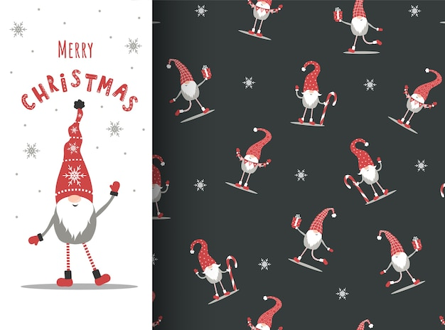 Christmas gnomes on seamless pattern. greeting card with nordic elf in red hat.