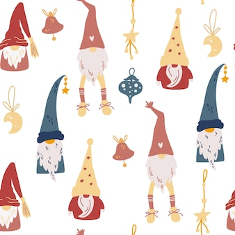 Christmas gnomes seamless pattern. toys, stars, months and ribbons. scandinavian christmas repeated background. vector winter holidays print for textile, wallpaper, fabric.