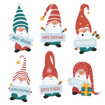 Christmas gnomes set.  illustration for greeting cards, christmas invitations and t-shirts