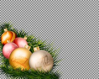 Christmas gold balls with grass on transparent background.