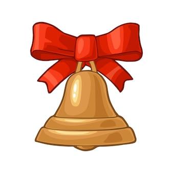 赤い弓とクリスマスの金の鐘。白い背景で隔離。フラットと彫刻のイラストをベクトルします。
