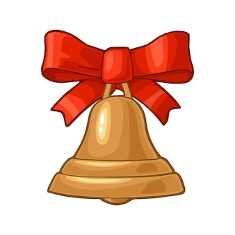 Christmas gold bell with red bow. isolated on white background. vector vintage color flat and engraving illustration.