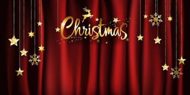コピースペースと星をぶら下げて赤いファブリックの背景にクリスマスの金の書道。ベクター。