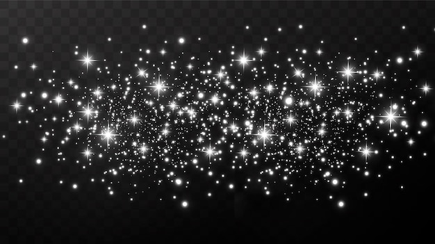 Christmas gold confetti stars are falling, shining stars fly across the night sky amidst the reflection of the light points of space. holidays  background. magic shine.