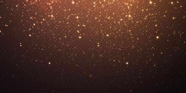 Золотые рождественские звезды конфетти падают, сияющие звезды летят по ночному небу среди отражений световых точек космоса. фон праздников. волшебный блеск.