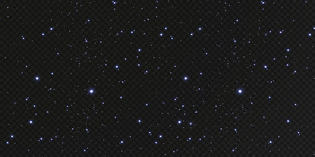 クリスマスの金の紙吹雪の星が落ちてきて、輝く星が宇宙の光の点の反射の中で夜空を横切って飛んでいます。休日の背景。魔法の輝き。