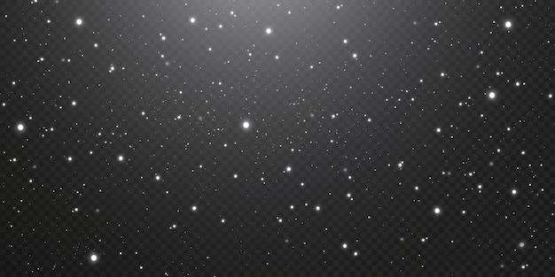 크리스마스 골드 색종이 별이 떨어지고, 빛나는 별이 밤하늘을 날고, 공간의 밝은 점이 반사됩니다. 휴일 배경입니다. 마법의 빛.