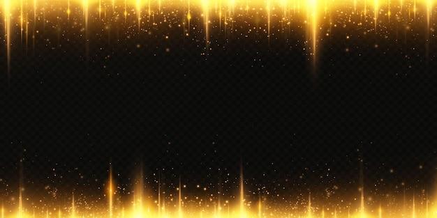 Рождественские золотые звезды конфетти падают