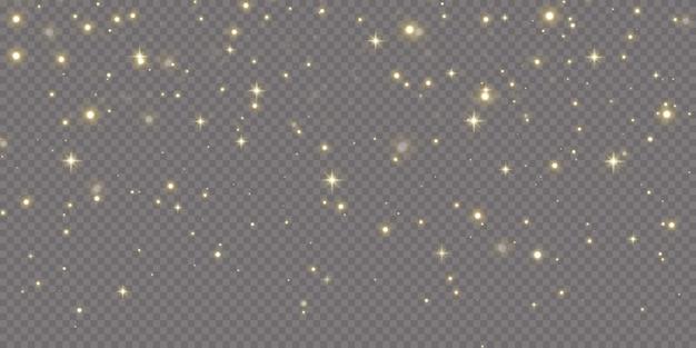 クリスマスの金の紙吹雪の星が落ちています、