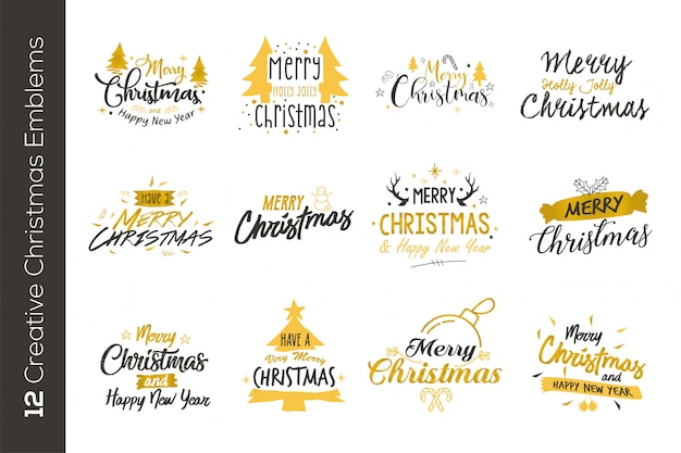 Christmas gold emblems