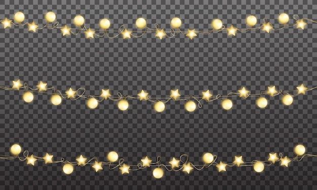 Christmas gold garland, shiny golden decoration for xmas and new year celebration