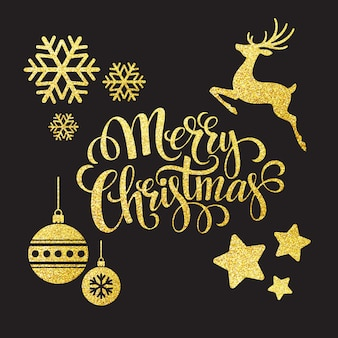 Christmas gold glitter elements, greeting card