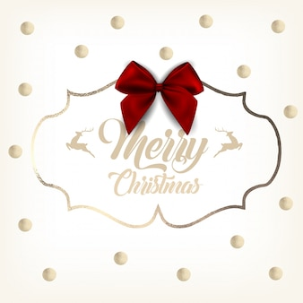 Christmas gold greeting card with red bow