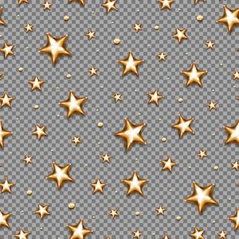 透明な背景にクリスマスの金の星のシームレスなパターン。