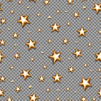 Christmas gold star seamless pattern on transparent background.