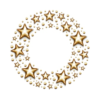 白い背景の上の円のクリスマスの金の星とビーズ。