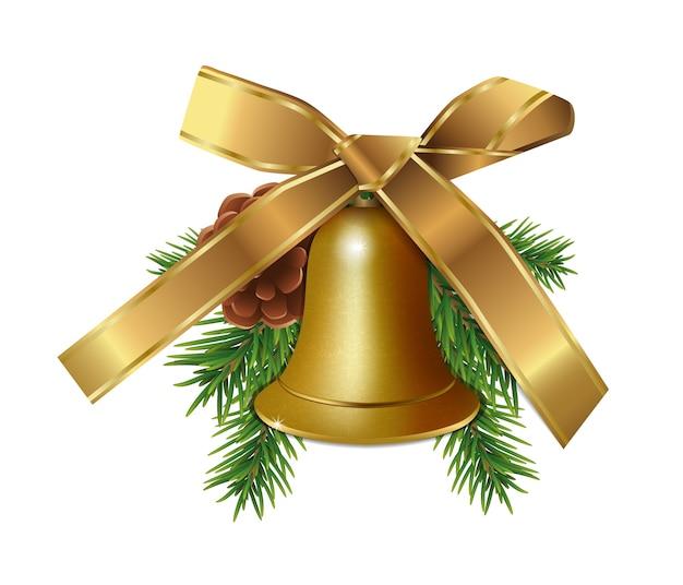 Рождественский золотой колокол с еловыми ветками, конусом и золотой лентой смычка, изолированные на белом фоне.