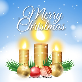 Christmas golden candle background