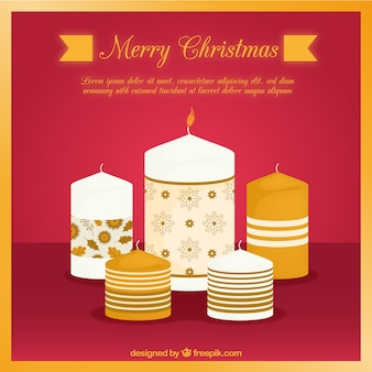 Christmas golden candles background