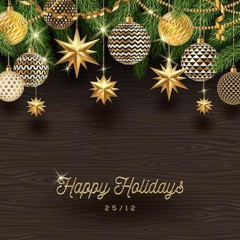 Золотое рождественское украшение на деревянном фоне