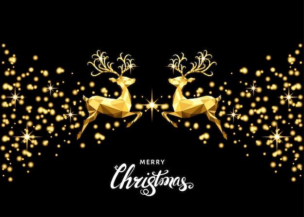 Рождественские золотые украшения с прыгающими оленями, вспышками и светящимися звездами. с новым годом черный фон с золотым световым эффектом. векторный шаблон для рождественской открытки.