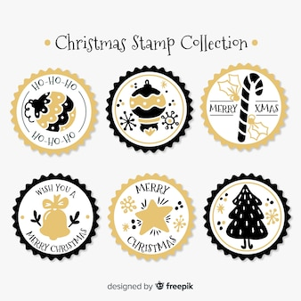 Christmas golden details circled stamp collection