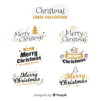 Christmas golden details label collection