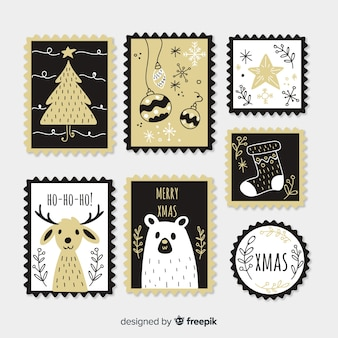 Christmas golden details stamp collection