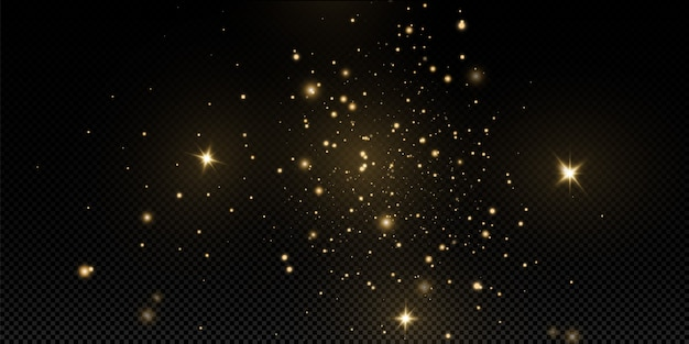 Christmas golden dust, yellow sparks and golden stars shine with a special light.  sparkles with sparkling magic dust particles.