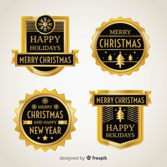 Christmas golden elements badges collection