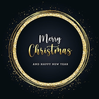 Christmas golden glitter banner on dark background