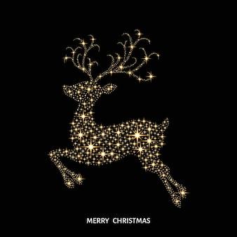 스파크로 장식 된 크리스마스 황금 빛나는 순록
