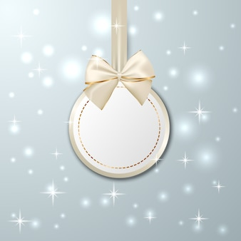 Christmas golden hanging tag with ribbon