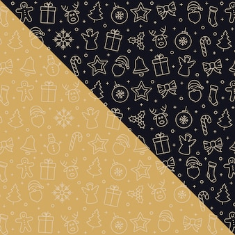 Christmas golden icon pattern elements background