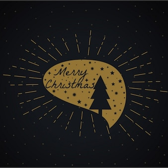 Christmas golden label on a black background