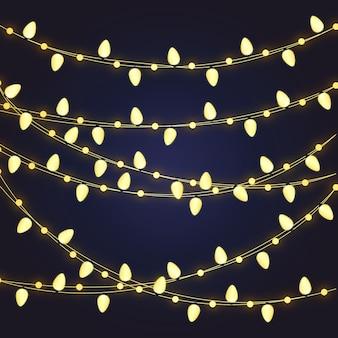Рождественские украшения золотые лампочки