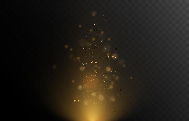 クリスマスの黄金色のライトベクトルイラストの明るいボケ味の背景を光る