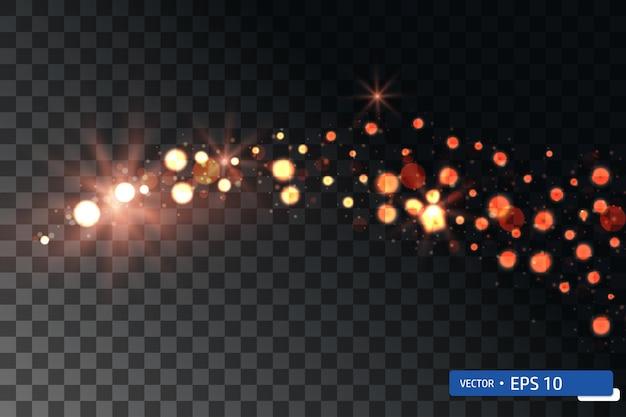 크리스마스 황금 조명 무작위로 떨어지는 크리스마스 휴일 빛나는 소용돌이 bokeh 색종이
