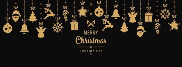 Christmas golden ornament elements