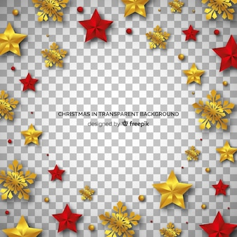 Christmas golden and red ornaments transparent background