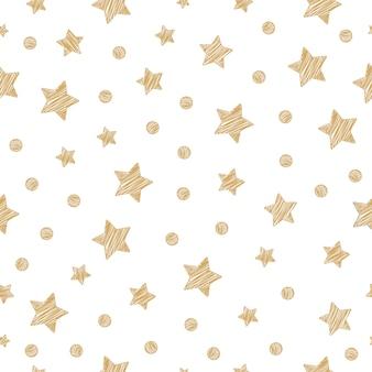 Christmas golden stars seamless pattern