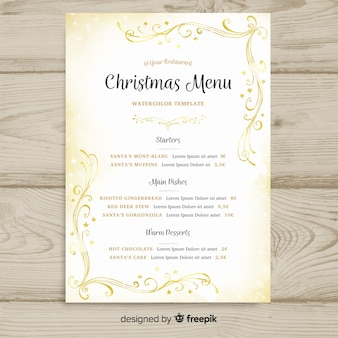 Christmas golden watercolor menu template