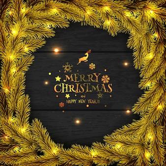 Christmas golden wreath on dark wood greeting card.