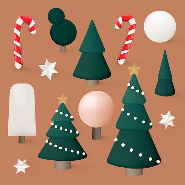 크리스마스 그래픽 요소 집합, 축제 3d 디자인 벡터