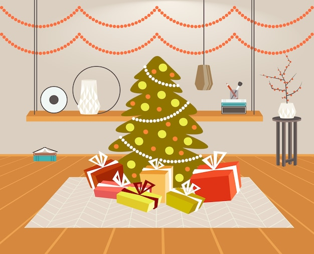 Christmas green fir tree with gift present boxes merry xmas happy new year holiday celebration concept modern living room interior horizontal vector illustration